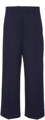 Prada Cropped Cotton-Crepe Straight-Leg Pants