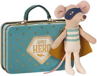 Maileg Superhero Little Brother Mouse Stuffed Animal in Suitcase