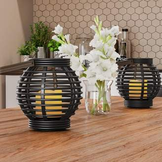 Decorative Round Candle Lantern with Rustic Rattan-Style Design, Set of 2- Energy Saving Flameless Pillar LED Candles with Lanterns By Lavish Home