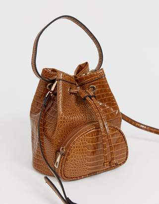 Asos Design DESIGN mini croc bucket bag