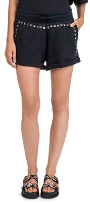 The Kooples Studded Cotton Sweat Shorts