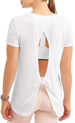 Athletic Works Women's Active Short Sleeve Twist Back Performance T-Shirt