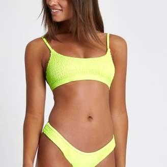 Womens Yellow shirred pom pom triangle bikini top River Island Lowest Price k8UR4fsGd