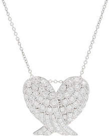 Diamonique Angel Wing Pendant with Chain,Sterling