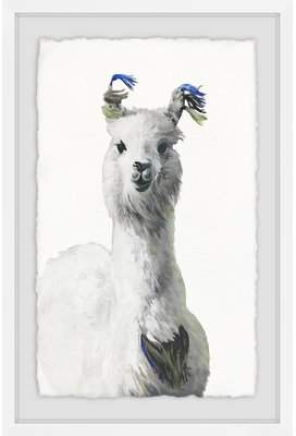 Wayfair 'White Llama' Framed Acrylic Painting Print