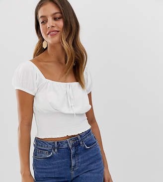 New Look square neck top in white