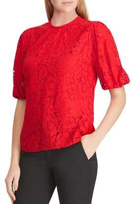Ralph Lauren Floral Lace Blouson Sleeve Top