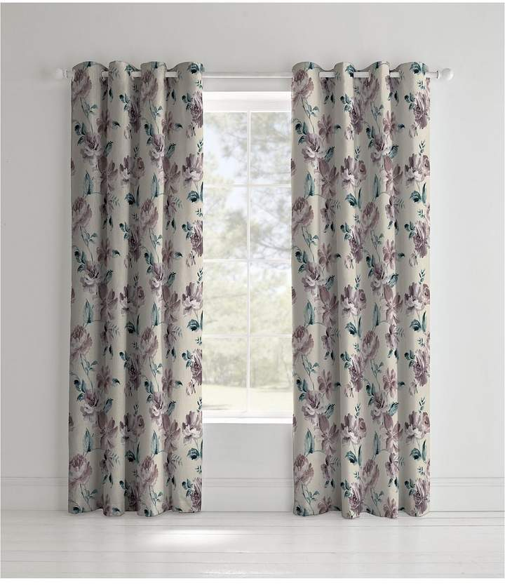 Catherine Lansfield Painted Floral Lined Eyelet Curtains