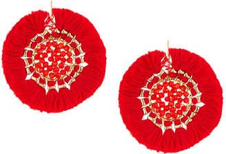 Panacea Crystal Circle Fringe Drop Earrings