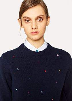 Paul Smith Women's Navy Lambswool Sweater With Jewel Embellishments
