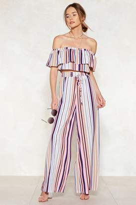 Nasty Gal Top of the Line Striped Crop Top and Pants