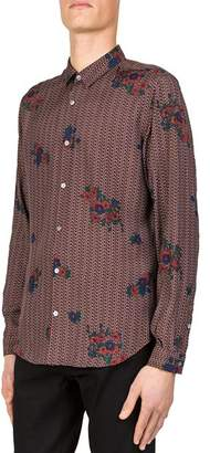 The Kooples Flower Party Slim Fit Button-Down Shirt