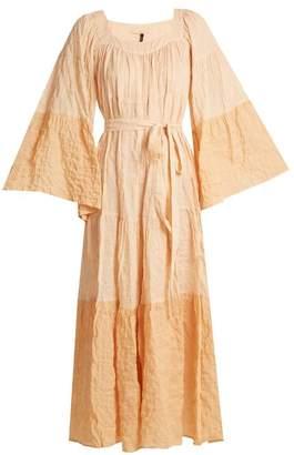 Lisa Marie Fernandez Ruffled Waist Tie Striped Cotton Blend Dress - Womens - Orange Multi