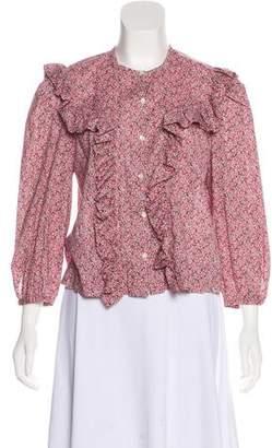 Rebecca Taylor Floral Print Long Sleeve Blouse