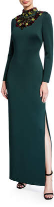 Badgley Mischka Embellished Mock-Neck Long-Sleeve Cutout-Back Scuba Gown