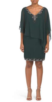 V-neck Beaded Chiffon Overlay Dress