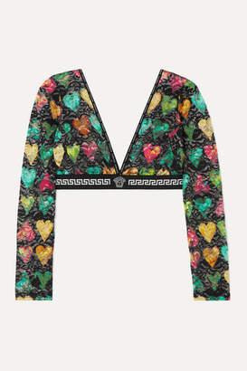 Versace Printed Stretch-lace Bra Top - Black