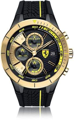 Ferrari RedRev Evo Black and Gold Stainless Steel Case and Silicone Strap Men's Chrono Watch