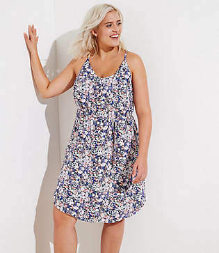 LOFT Plus Floral Covered Button Strappy Cami Dress