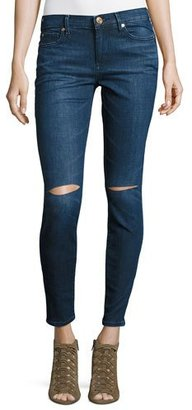 True Religion Halle Mid-Rise Super Skinny Jeans with Ripped Knees, Indigo $199 thestylecure.com