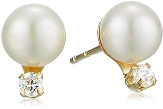 575 Denim 14k Gold Freshwater Cultured Pearl and Cubic Zirconia Stud Earrings mm)