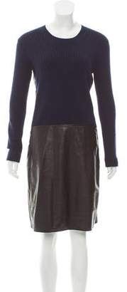 Reed Krakoff Leather-Paneled Sweater Dress