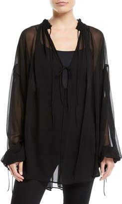 Tie-Front Long-Sleeve Sheer Silk Blouse