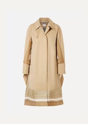 Burberry Printed Silk-paneled Cotton-gabardine Trench Coat