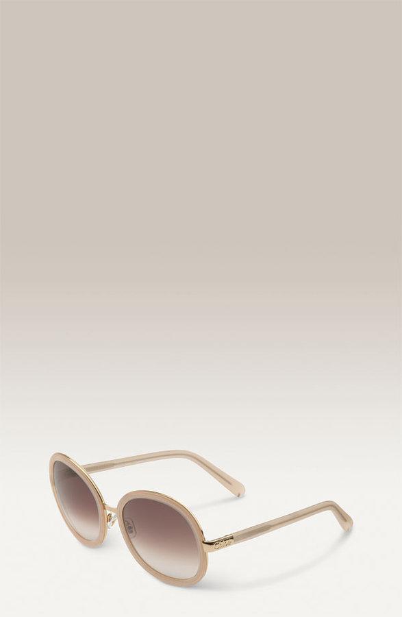 Chloé 'Mimosa' Round Sunglasses with Metal Rim Inlays