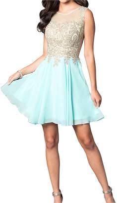 Erosebridal Short Homecoming Dress with Jewel Embellished Sheer Bodice Mint US