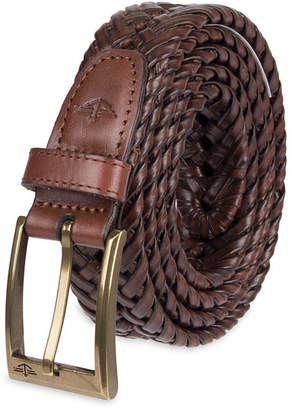 Dockers Brown Leather V-Weave Belt - Big & Tall