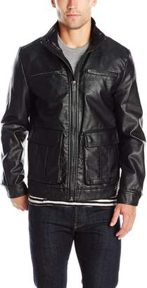 Kenneth Cole New York Men's Faux Leather Bomber