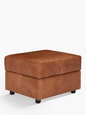 John Lewis & Partners Oliver Leather Storage Footstool, Dark Leg, Luster Cappuccino