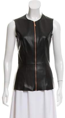 Cédric Charlier Faux-Leather Sleeveless Top Black Faux-Leather Sleeveless Top