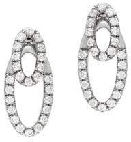 Lord & Taylor Diamond and Sterling Silver Drop Earrings