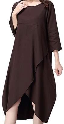 ZANLICE Women's Crew Neck Irregular Hem Cotton Linen Long Dress