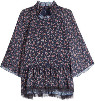 See by Chloe Printed Chiffon Blouse with Lace
