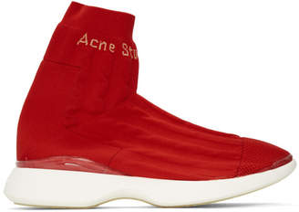 Acne Studios Orange and White Tristan High-Top Sneakers