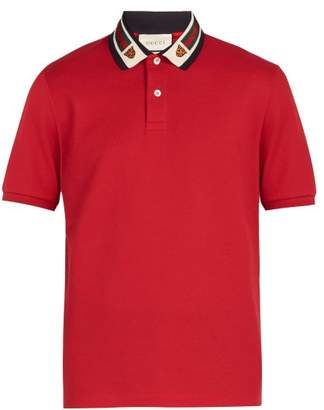 Gucci Tiger Stretch Cotton Polo Shirt - Mens - Red Multi
