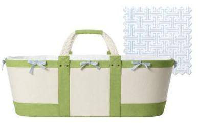 Sausalito Moses Basket Sprout/Aqua Trellis Sheet