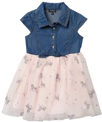Zunie Cap Sleeve Denim Top & Mesh Skirt Dress (Toddler & Little Girls)