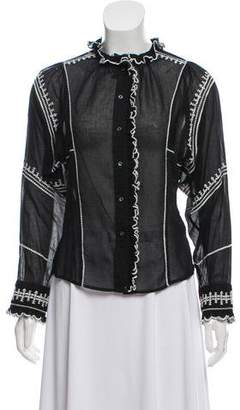 Etoile Isabel Marant Embroidered Semi-Sheer Top