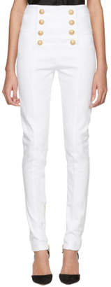 Balmain White Eight-Button Skinny Jeans