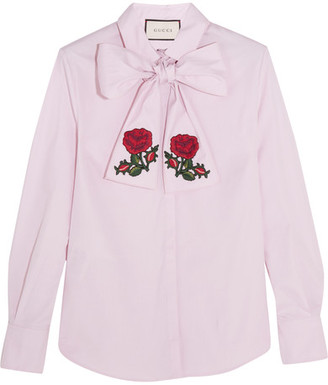 Gucci - Embroidered Pussy-bow Cotton Blouse - Pink $1,100 thestylecure.com
