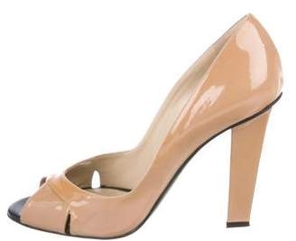 19cde359ff1d Jimmy Choo Brown Peep Toe Pumps - ShopStyle