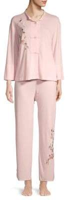 Natori 2-Piece Embroidered Floral Pajama Set