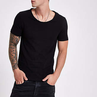 River Island Black muscle fit scoop neck T-shirt