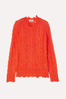 Acne Studios Kelenal Frayed Cable-knit Sweater - Coral