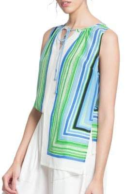 Tracy Reese Striped Hi- Lo Blouse