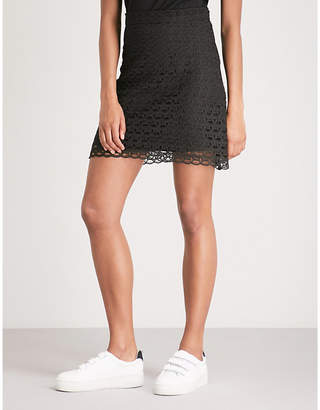 Sandro Embroidered lace mini skirt